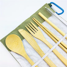 Travel camping bamboo Cutlery Set Eco friendly Flatware Reusable Portable Utensils