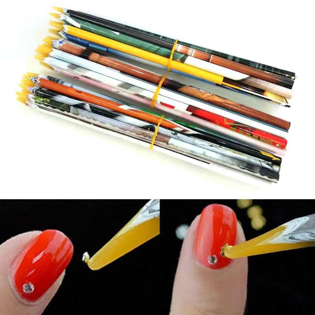 HOT! 2 Stuks Pro Nail Art Wax Tekening Puntjes Pen Strass Picker DIY Manicure Tool