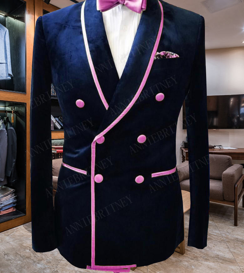 ANNIEBRITNEY New Designs Double Breasted Slim Fit Men Suit For Prom Dinner Party Tuxedo Velvet Jacket With Black Cotton Pants