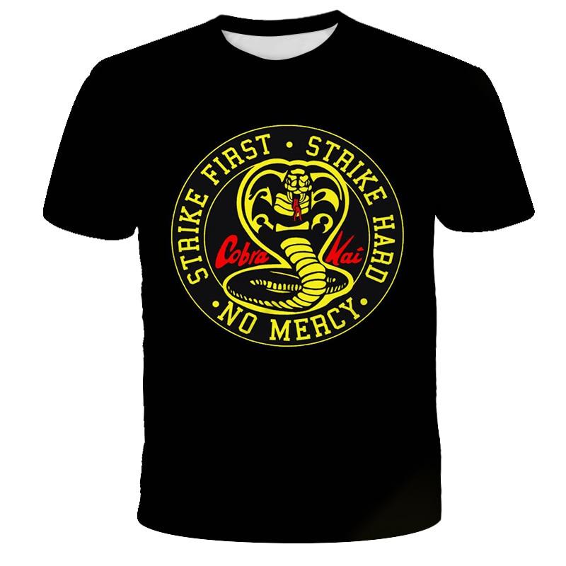 Кобра Кай, футболка для подростков с 3D принтом для мальчиков и девочек, Повседневная футболка с короткими рукавами в виде кобры для уличных ...