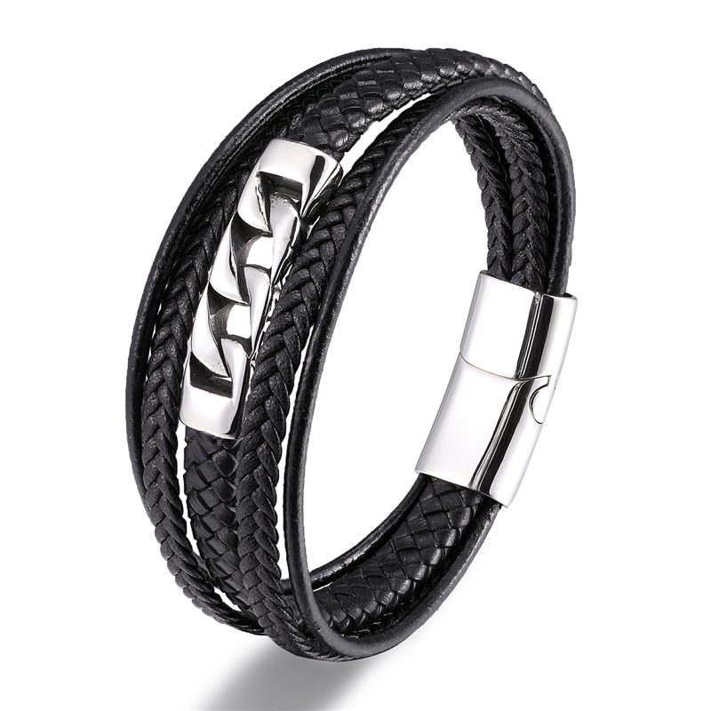 MKENDN Multilayer Punk Style Design Genuine Leather Bracelet for Men Steel Magnetic Button Christmas Gift Male Bracelets