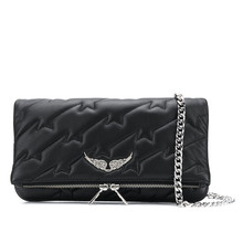 Women's Black Messenger Bag Chain Wings Decoration Shoulder Bag 2021 New