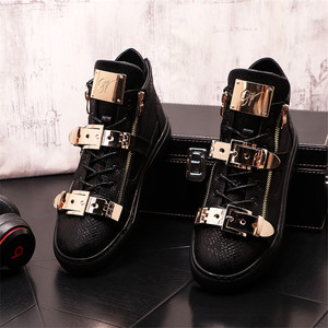 Fashion Trend Men's Shoes Punk Designer Sneakers Hip Hop High Tops Male Casual Flats Ankle Boots Zapatillas Hombre
