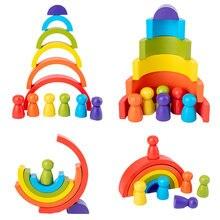 Neue Regenbogen Holz Baby Spielzeug Montessori Kreative Regenbogen Bausteine Holz Jenga Spiel Frühen Pädagogisches Spielzeug für Kinder