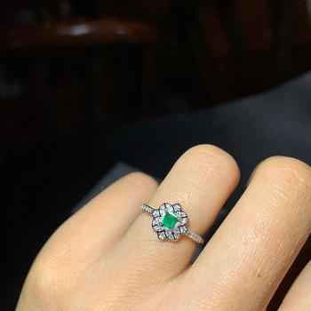 100% 925 sterling silver  Natural green Emerald Rings fine Jewelry gift women wedding open wholesale new 3*3mm de0304881agml