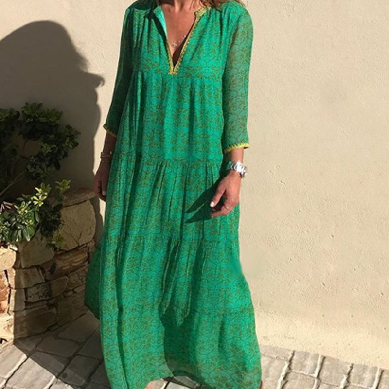 Women's Long Sleeved Bohemian Bottoming Dress Vintage Floral Maxi Dress Summer Long Elegant Retro Boho Dress Vestidos