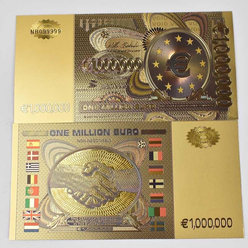 Золотая фольга для банкнот один миллион цветных евро-банкнот Европейская копия валюты для коллекционной валюты ремесла