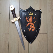 2pcs/set 1:1 Halloween Cosplay Children Prop Lion Shield Golden Sword PU Weapon Movie Model Game Anime Cos Kids Role Play Toy