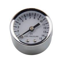 Kraftstoff Manometer Flüssigkeit 0 15 psi Ölpresse Gauge Kraftstoff Gauge Weiß Gesicht Universal 1/8 NPT