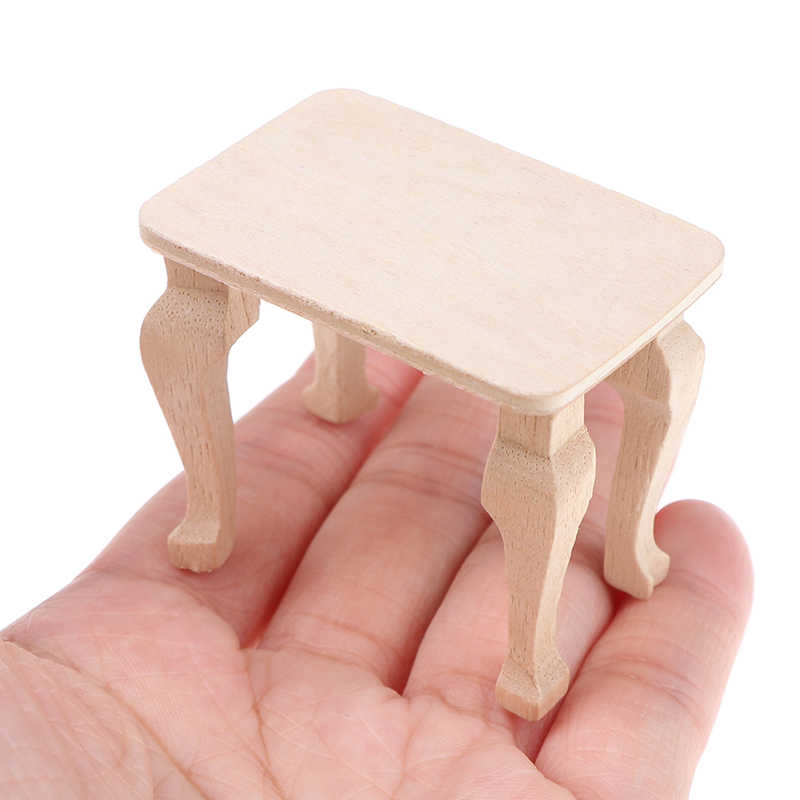Small Wooden Table Furniture Toys 1:12 Dollhouse Miniature Accessories DIY Doll House Decor Baby Toys