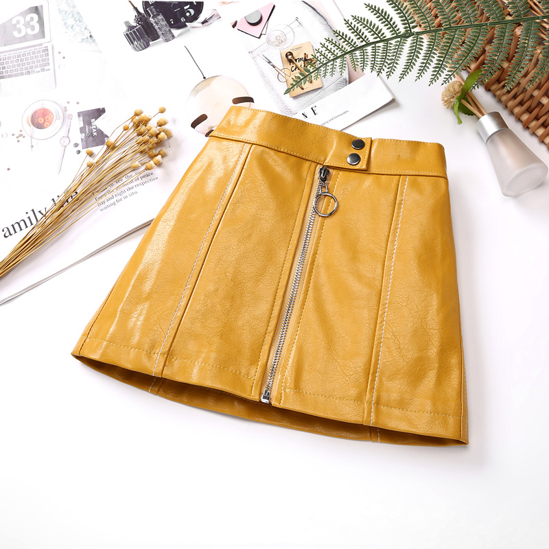Kids Leather Skirts for Spring Girls Casual Mini PU Leather Skirt Teenager Girl Faux Leather Skirt for Autumn Children 110-160cm 2
