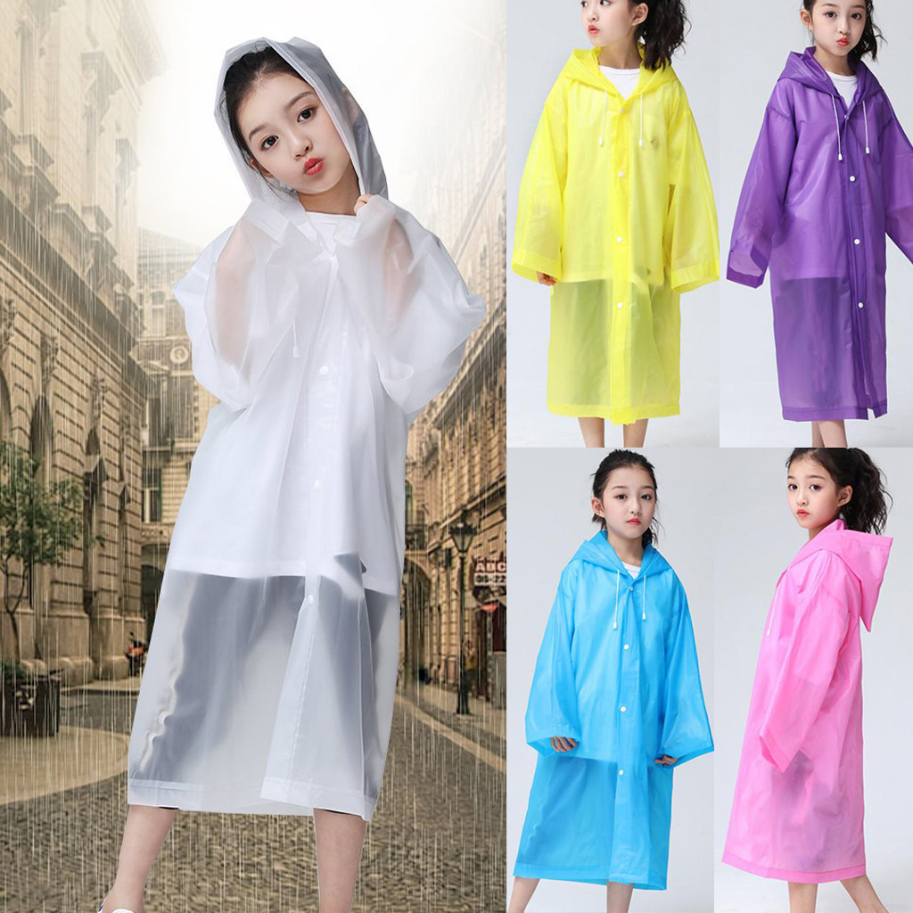 Children'stransparent EVA Raincoat Rain Coat Hooded Thick Waterproof Kids Toddler Outdoor Travel Raincoats Rainwear