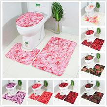 3 Pcs Bath Mat Rose Petal Series Printed Mat Toilet Floor Mat Non-slip Bath Rugs Decoration For Bathroom Slip Carpet Set Ja14(China)