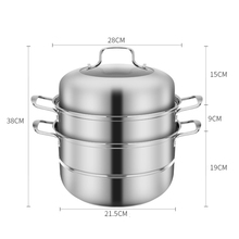 Нержавеющая сталь 3 уровня Пароварка Индукционная Паровая Кастрюля со спуском пара набор кухонной посуды