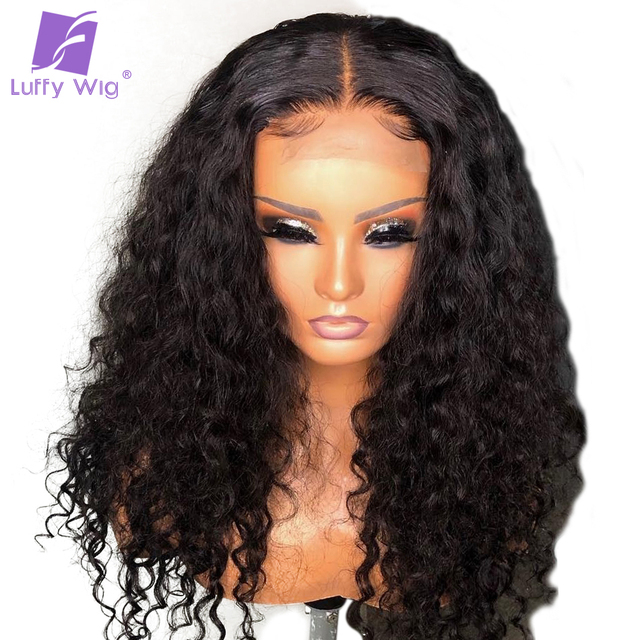 5x4.5 Silk Base Human Hair Wigs PrePlucked 13x6 Remy Malaysian Curly Lace Front Wig With Baby Hair Middle Deep Part 150% LUFFY 3