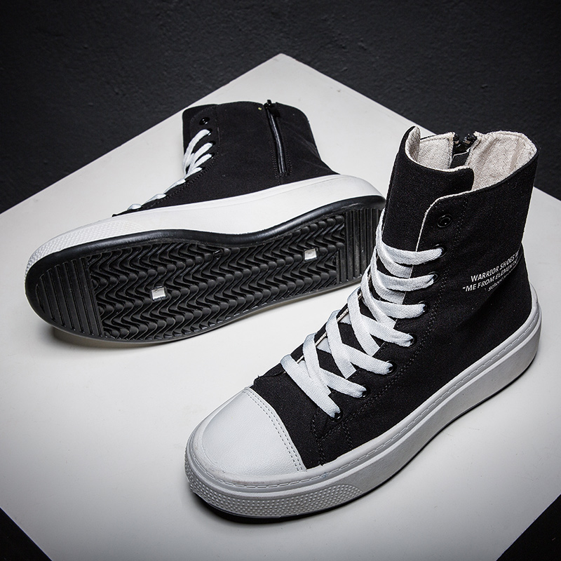 Autumn Winter Sneakers Men Canvas Shoes High Top Male Brand Footwear Men's Casual Shoes Black High Top Canvas Men Sneakers