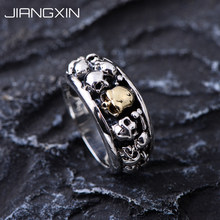 Luxury 12.5g 925 Sterling Silver Skull Band Ring for Men Fashion Punk Rock Fine Jewelry Vintage Silver Gift for Men and Women(China)
