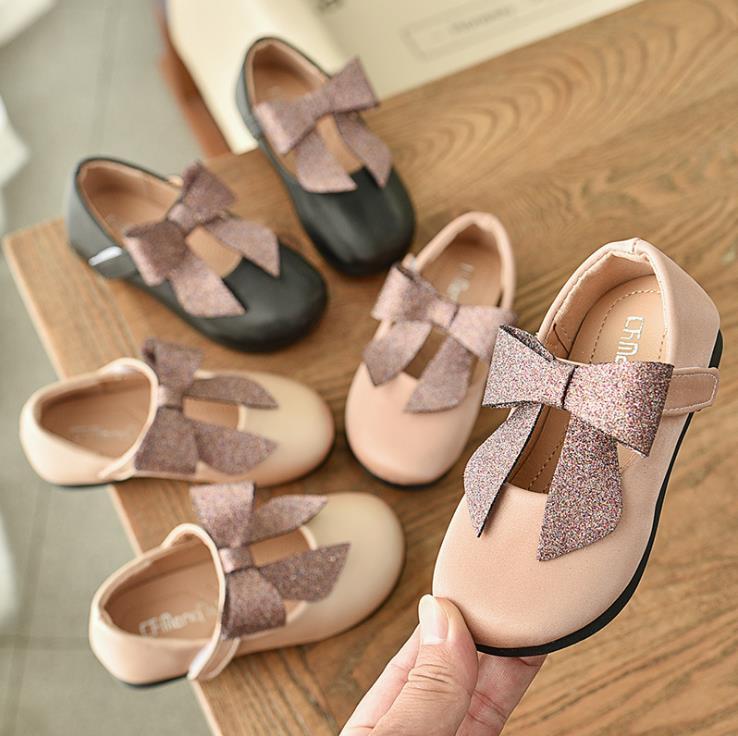 Children Girls PU Bling Bowknot Shoes Girls Princess Shoes Flat Dance Shoes  21-36  3colors TI9802 TX07