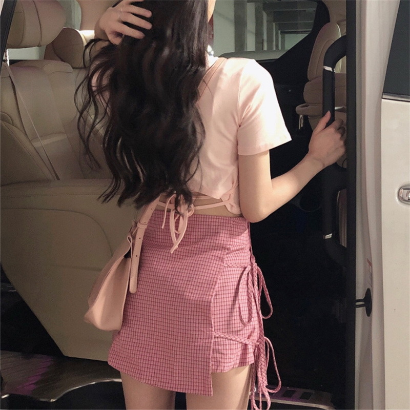Early Summer 2019 Popular Online Celebrity Skirt Goddess Graceful Very Fairy Two-Piece Set Plaid Divided Skirt T-shirt Sexy
