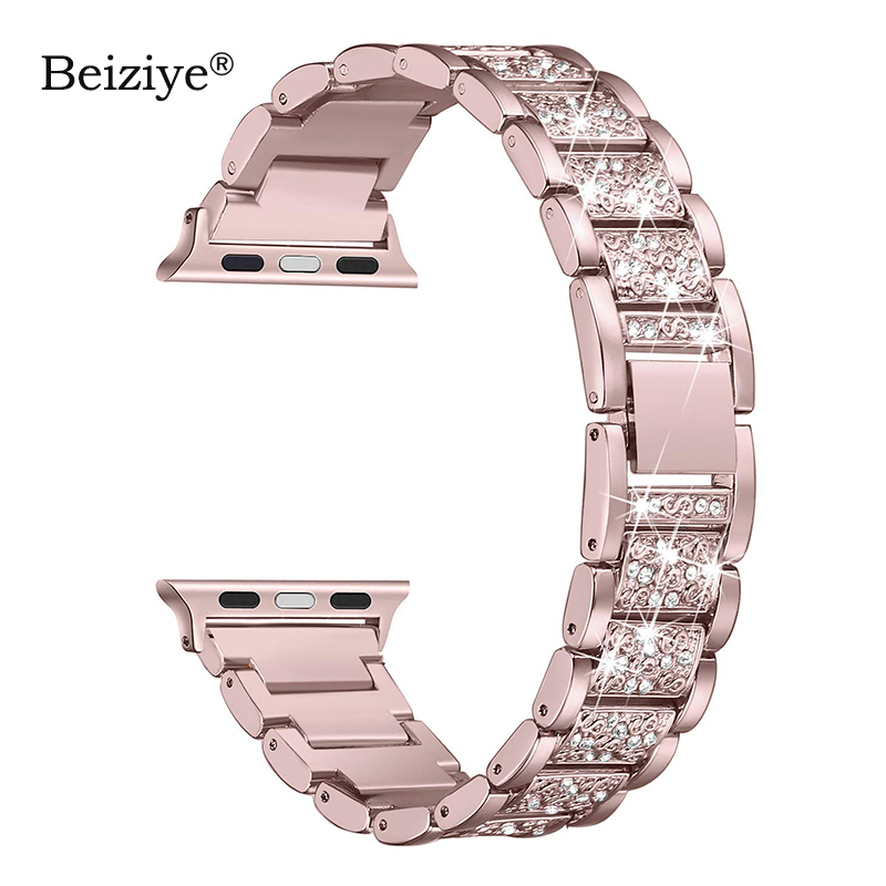 Diamond Strap For Apple Watch 38mm 42mm Metal Rhinestone Bling Replacement Wristband Women for iWatch Band 40mm 44mm Series 5 4 image