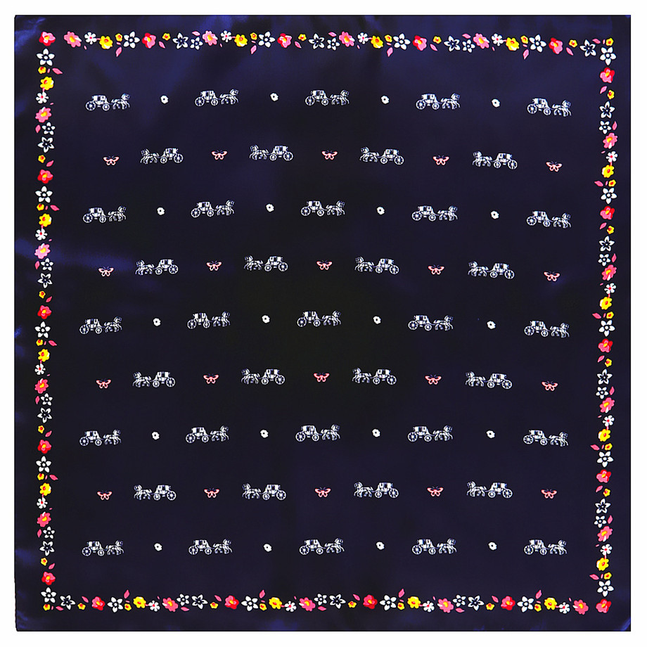 2020 New Design Carriage 60cm Square Scarf Women Luxury Brand Bandanna Twill Silk Scarf Horse Headband Fashion Neckerchief