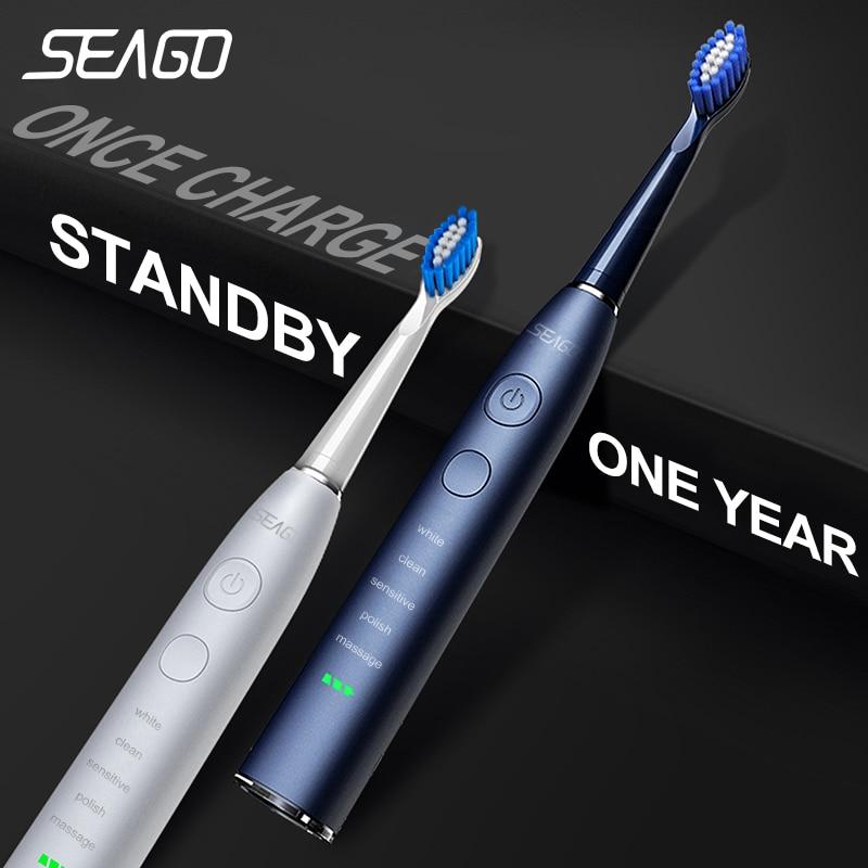 Seago brosse à dents sonique électrique SG-575 USB Charge Rechargeable adulte étanche électronique brosses à dents têtes de rechange cadeau