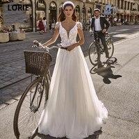 LORIE Elegant Lace Beading White Wedding Dresses Beach Boho Bridal Gown Appiques Princess Party Dresses V neck Sweep Train Gowns