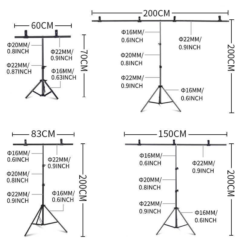 Fondo soporte sistema de soporte en forma de T marco de fondo fotografía pantalla verde telón de fondo fondos de Metal para estudio fotográfico