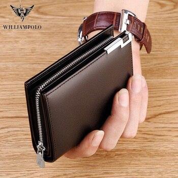 Мужской кошелек из натуральной кожи WILLIAMPOLO, короткий кожаный кошелек на молнии с отделением для карт