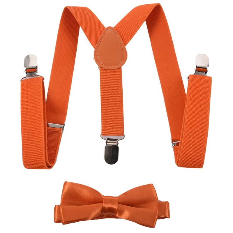 NEW-Children Kids Boys Girls Clip-on Suspenders Elastic Adjustable Braces With Cute Bow Tie Orange