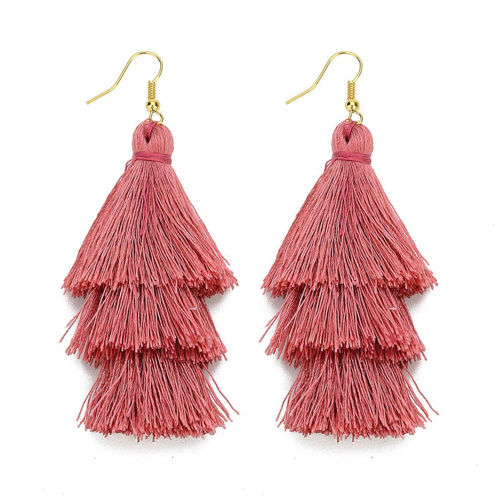2020 3 Layered Bohemian Fringed Luxury Statement Tassel Earrings 2020  Boho Fashion Jewelry Women Long Drop Dangle Earrings 2