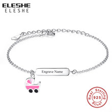 ELESHE Engrave Name 925 Sterling Silver Bracelet for Girls Kids Pink Enamel Baby Car Charm Bracelet Personalized Jewelry Gift(China)