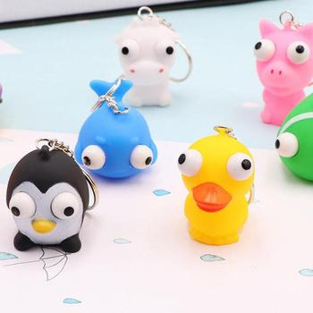 1PCS Lovely Animal Squeeze Toy Tumbled Eye Decompression Keyring Ring Chain Delivery Random image