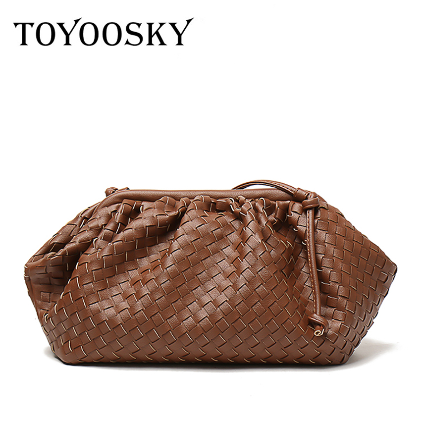 TOYOOSKY New woven large ruched cloud bag leather pleated shoulder slung dumplings bag clutch bag handbags street shopping bag