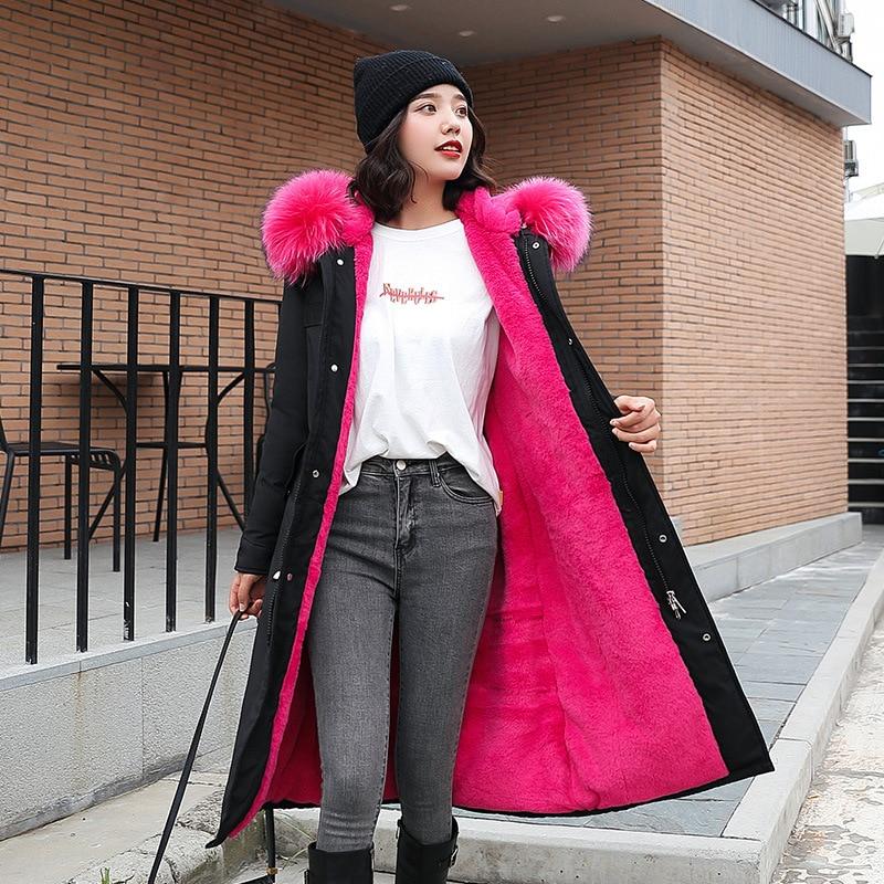 Cotton-padded Clothes Women's 2019 Elegant Korean-style WOMEN'S Wear Slim Women's Large Fur Collar Hooded Plush Cotton Coat Wome
