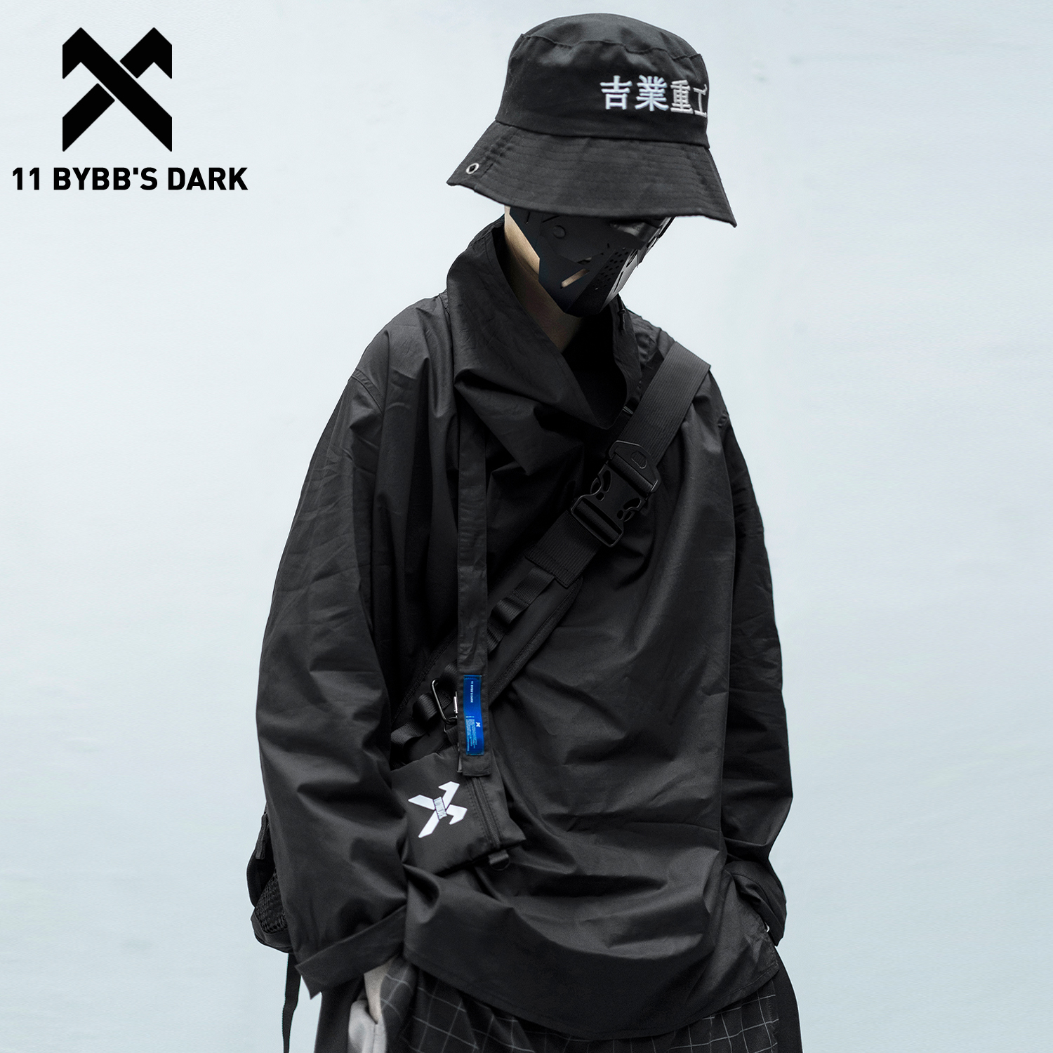 11 BYBB'S DARK Solid Dark Pile Pile Collar Long Sleeve 2020 Hip Hop Streetwear Letter Embroidery Pullover Techwear Fashion Tops
