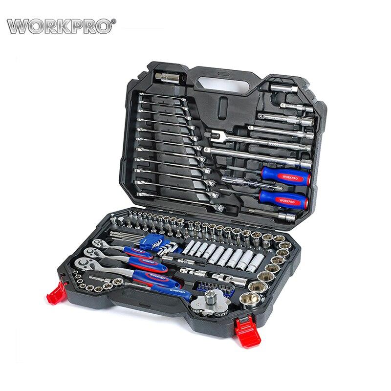 Strumenti di Set 100 pcs WORKPRO W003025AE scatola di Metallo per la Riparazione Auto Set di Strumento Chiave