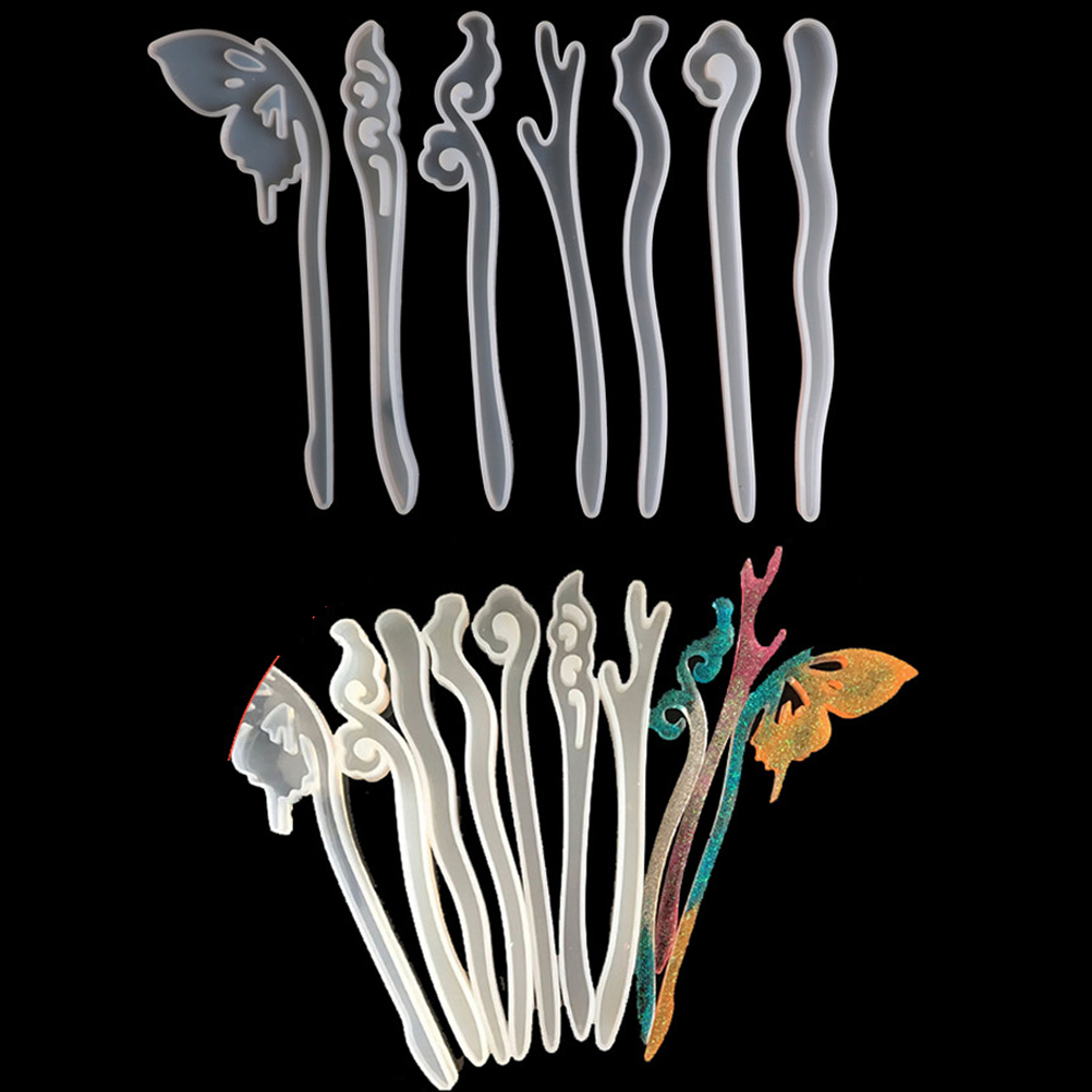 Hairpin Silicone Special Mould For Transparent Resin Real Flower DIY Hair Jewelry Making Mold Epoxy Resin Molds
