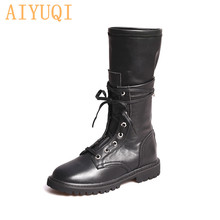 AIYUQI 2019 New Retro Military Boots Martin Female Genuine Leather Womens With Zipper Girl Winter