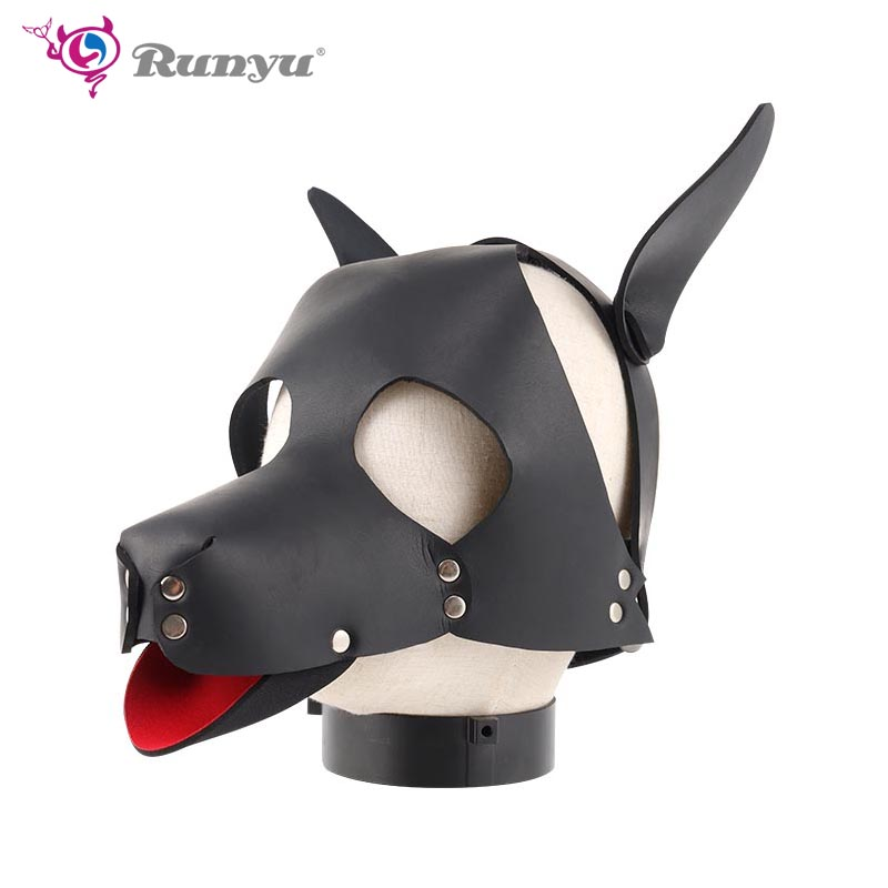 Sexy <font><b>Dog</b></font> Cosplay Costume for Couples game SM Slave BDSM bandage restraints <font><b>Masks</b></font> Leather <font><b>Dog</b></font> Head Cover <font><b>Mask</b></font> <font><b>sex</b></font> accessories image