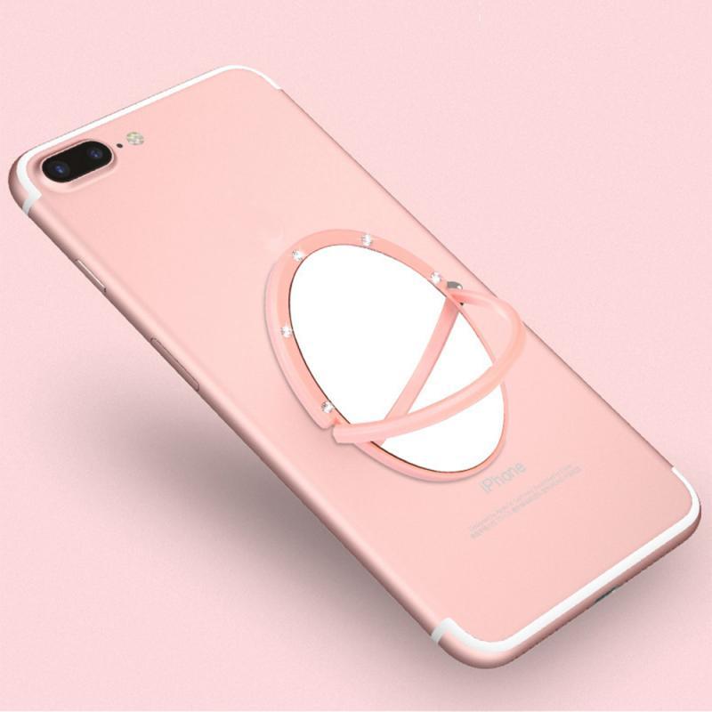 Universal 360 Degree Rotation Self-adhesive Mirror Finger Ring Holder Accessories Multi-Function Mobile Phone Socket Holder