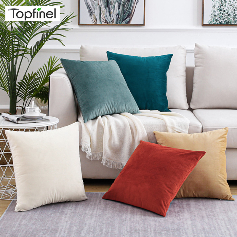 Topfinel Soft Solid Velvet Pillow Cases Cushion Cover Luxury Square Decorative Pillow Covers For Sofa Bed Car Home Throw Pillows