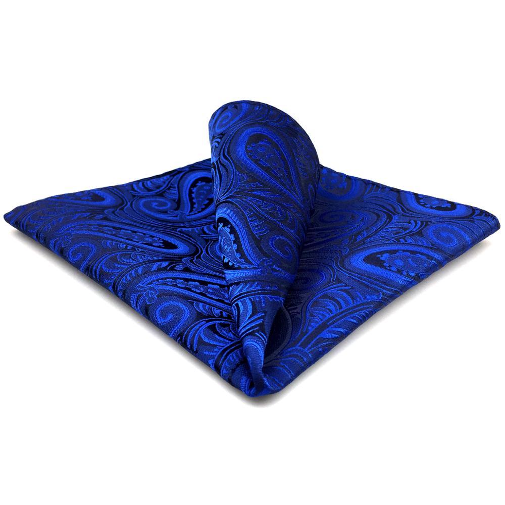 EH7 Blue Mens Pocket Square Paisley Silk Fashion Handkerchief Classic Hanky