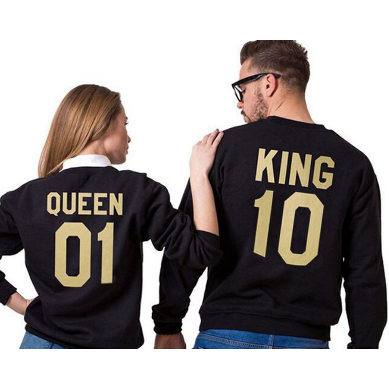 King Queen Letter Print Long Sleeve T-Shirt MR MRs Letter Women Family Top Tee Valentin Couple Shirt O-Neck Casual T Shirt