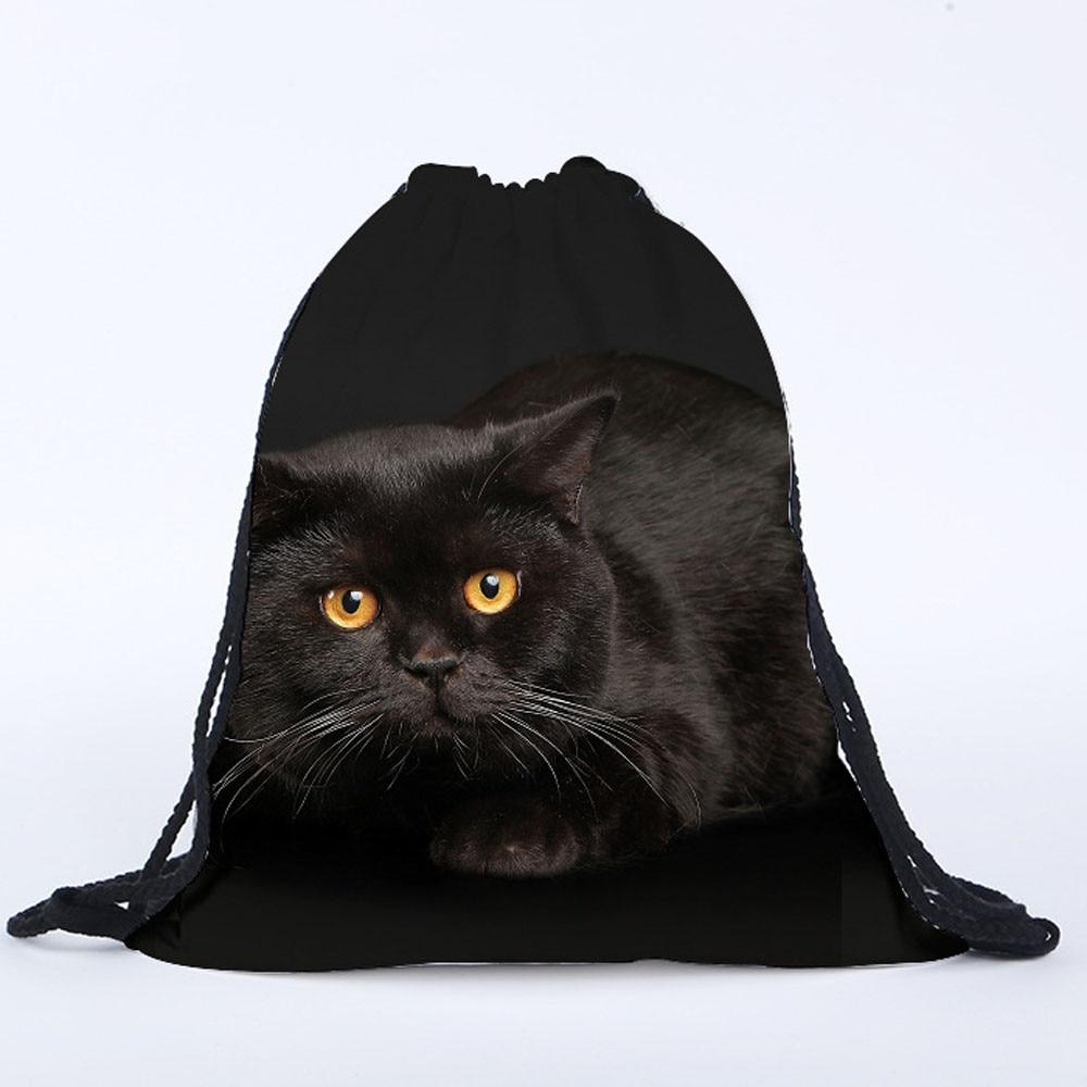 3D Drawstring Bag Unisex Men Women Fashion Casual Vintage Cat Printed Black Funny Drawstring Backpack Pouch Bag Mochila Saco