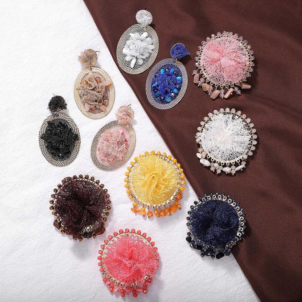 New Flower Crepe Alloy Fashion Dangle Earrings Women 2019 New Statement Boho Drop Earrings Jewelry Color Gifts Wedding Wholesale in Drop Earrings from Jewelry Accessories
