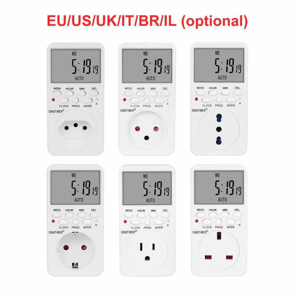 SINOTIMER TM519 7 jours hebdomadaire LCD numérique Programmable interrupteur prise minuterie prise temps relais interrupteur contrôle EU/US/UK/IT/BR/IL vente