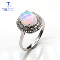 Nice colorful Opal Ring natural Gemstones oval 8*10mm fine jewelry 925 sterling silver for women party gift tbj promotion