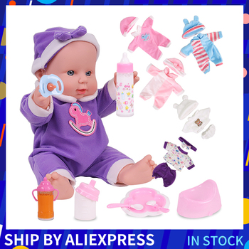 12 inches Reborn Baby Dolls Purple Pink Clothes Silicone Artificial Toys For Girls Birthday Gift Rubber Reborn Baby Girl Dolls warkings reborn