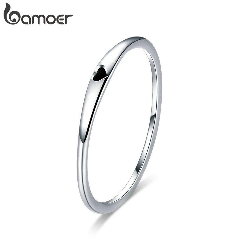 BAMOER Silver Heart Couple Rings for Women 925 Sterling Silver Love Engagement Wedding